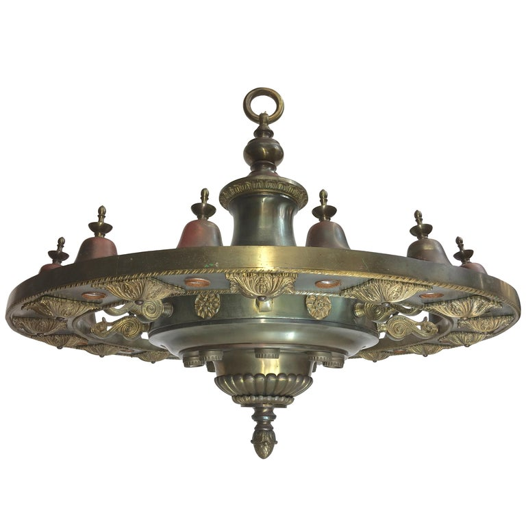 Four Grand Scale Bronze Lobby Chandeliers For Sale