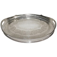 Ornate Grand Large James Dixon & Sons Silver Plate Serving Tray, circa 1920