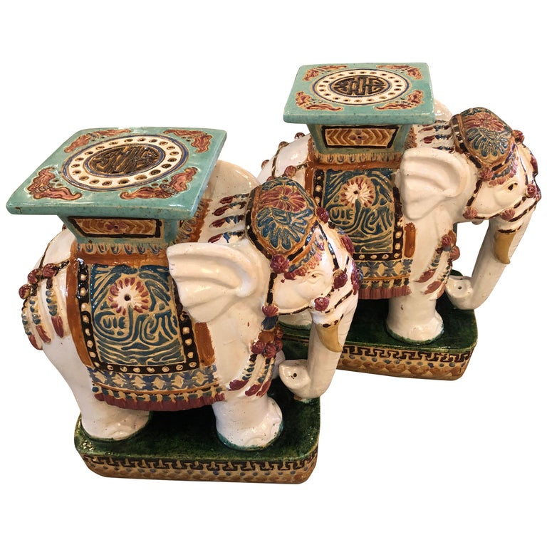 Vintage Pair of Garden Elephant Stools Stands Side Tables For Sale