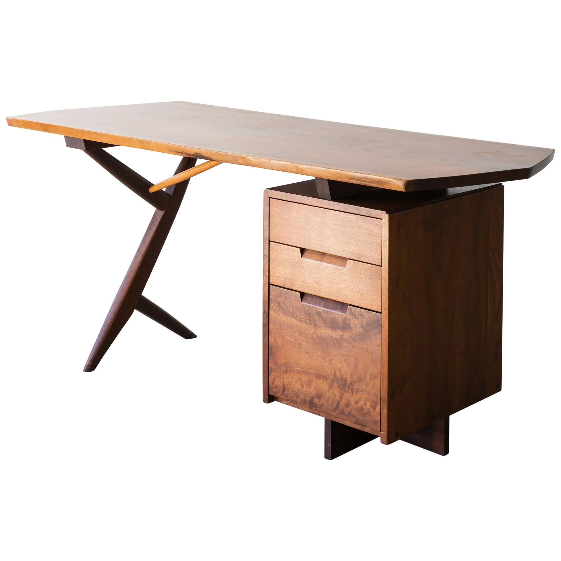 Conoid Cross-Legged Desk in Walnut and Hickory by George Nakashima, 1963