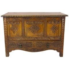 Carved Oak Chest, Oak Blanket Box, Carved Trunk, Oak Coffer, Chest, B1278