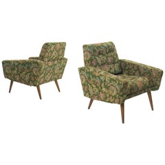 Set of Lounge Chairs in Green Floral Upholstery