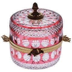 Jewerly Red Crystal Box with Bronze recovered 22-Carat Gold