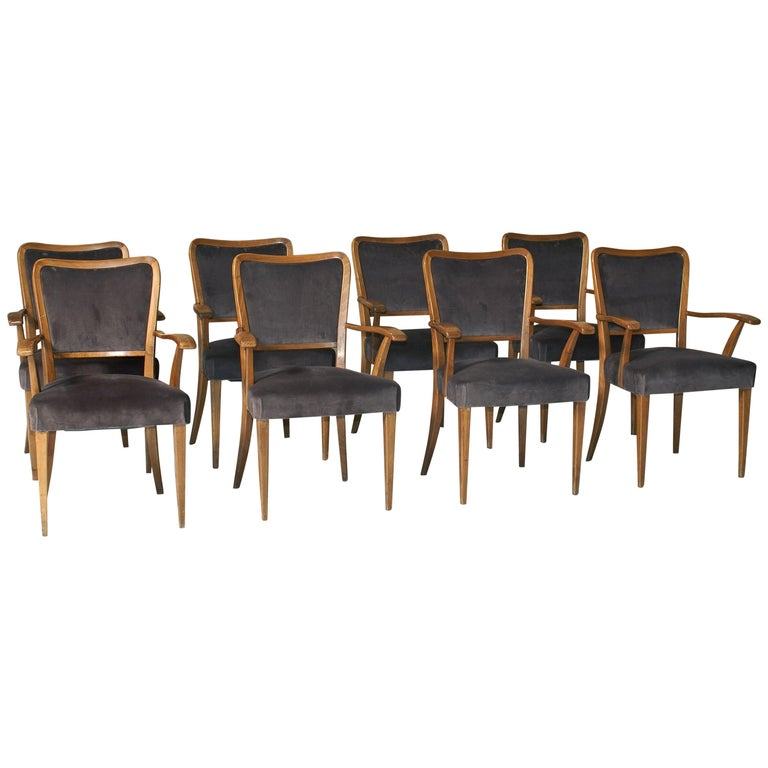 Set of 8 Dining Chairs Attributed to Paolo Buffa For Sale