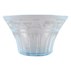 Simon Gate for Orrefors, Art Deco Bowl in Satin-Cut Light Blue Art Glass, 1929
