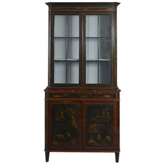 Unusual Dutch Bookcase Inset with Lacquer Panels