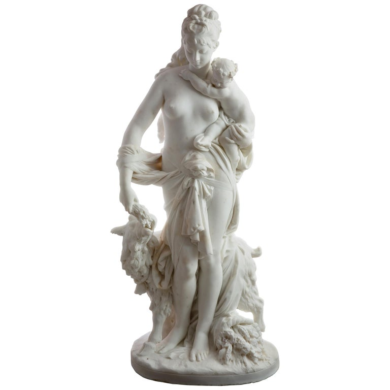 Le Retour des Champs 'Return from the Harvest' Carrara Marble, Signed and Dated For Sale
