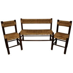 Charlotte Perriand, Set of One Bench and Pair of Chairs, Wood and Rattan