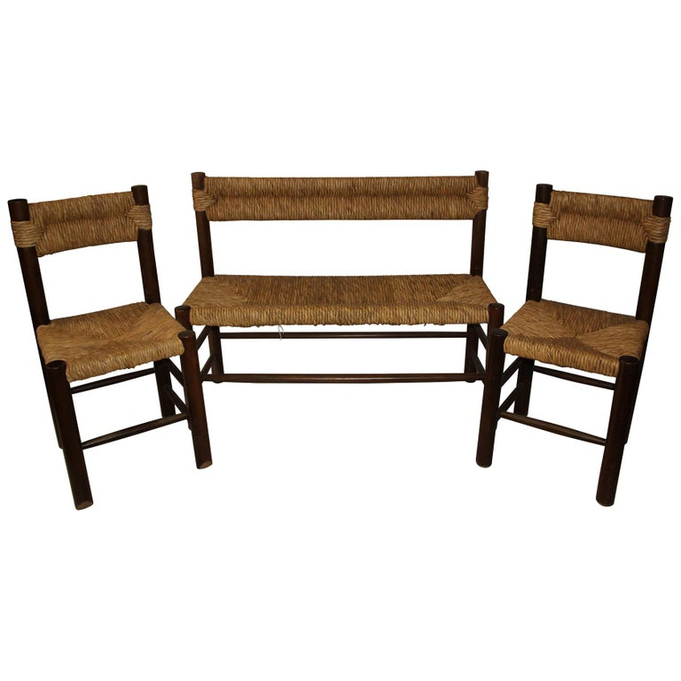 Charlotte Perriand, Set of One Bench and Pair of Chairs, Wood and Rattan For Sale