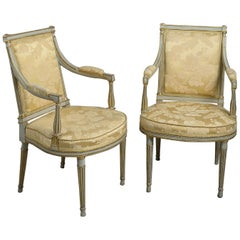 Pair of George III Painted and Parcel-Gilt Armchairs