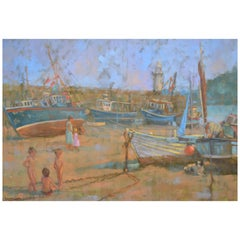 """Children Playing, Low Tide"" English Figurative Oil Painting"