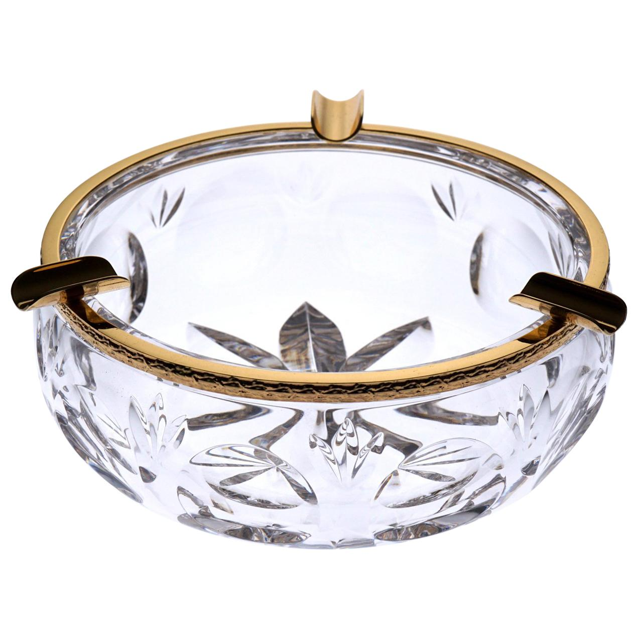 Clear Crystal Ashtray with Bronze Covered 22-Carat Gold, Oriental-Style