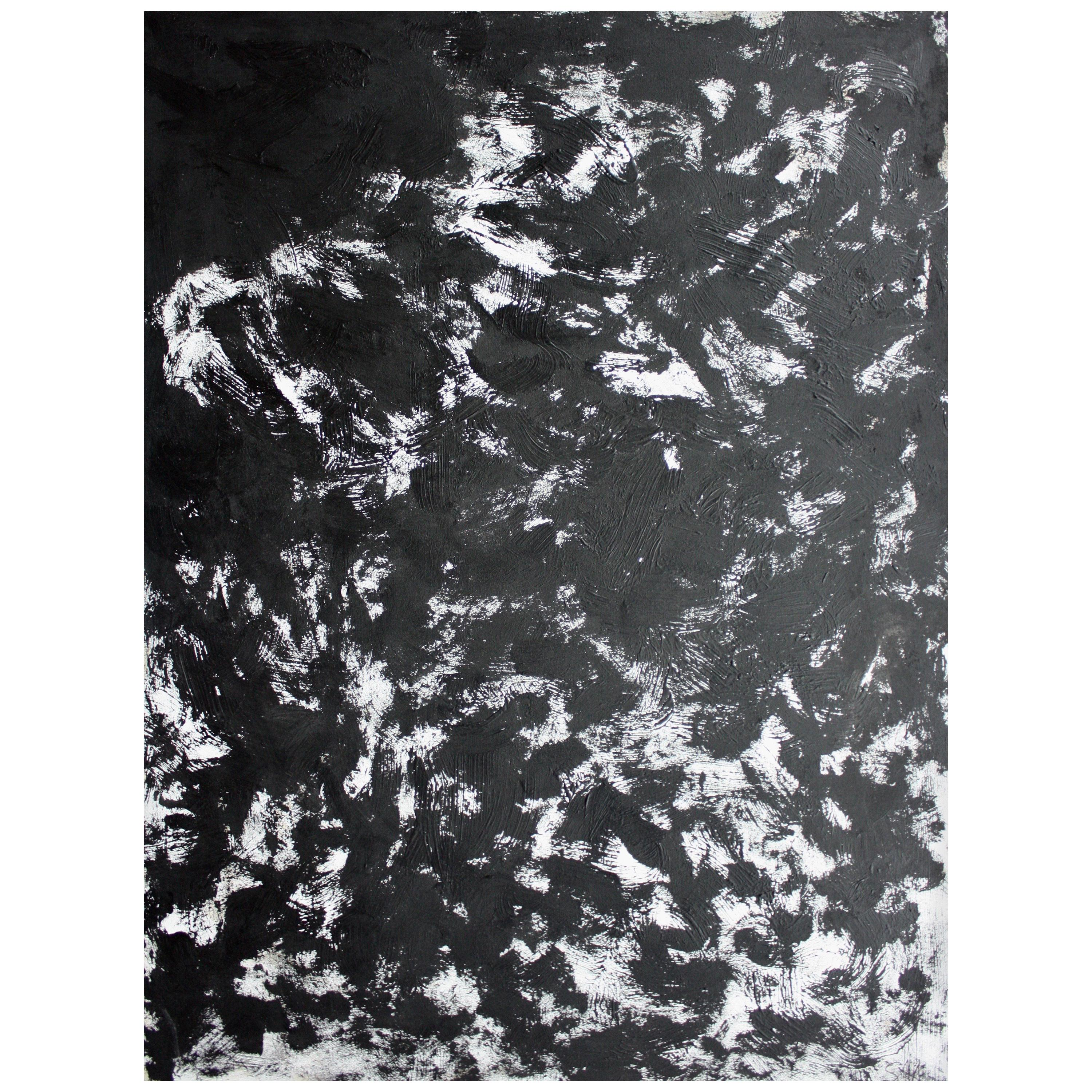 """Grand Expression"" Black and White Large Abstract Painting by Sax Berlin"
