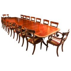 Vintage Arthur Brett Three Pillar Mahogany Dining Table and 14 Chairs