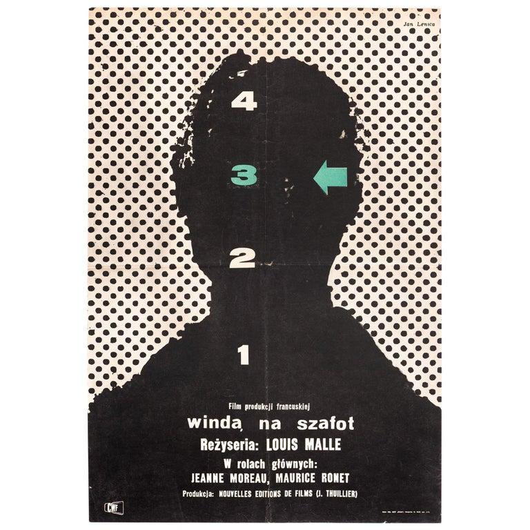 Vintage Polish Ascenseur pour l'Echafaud Poster by Jan Lenica for CWF, 1958 For Sale