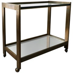 Bronze and Glass Midcentury Bar Cart