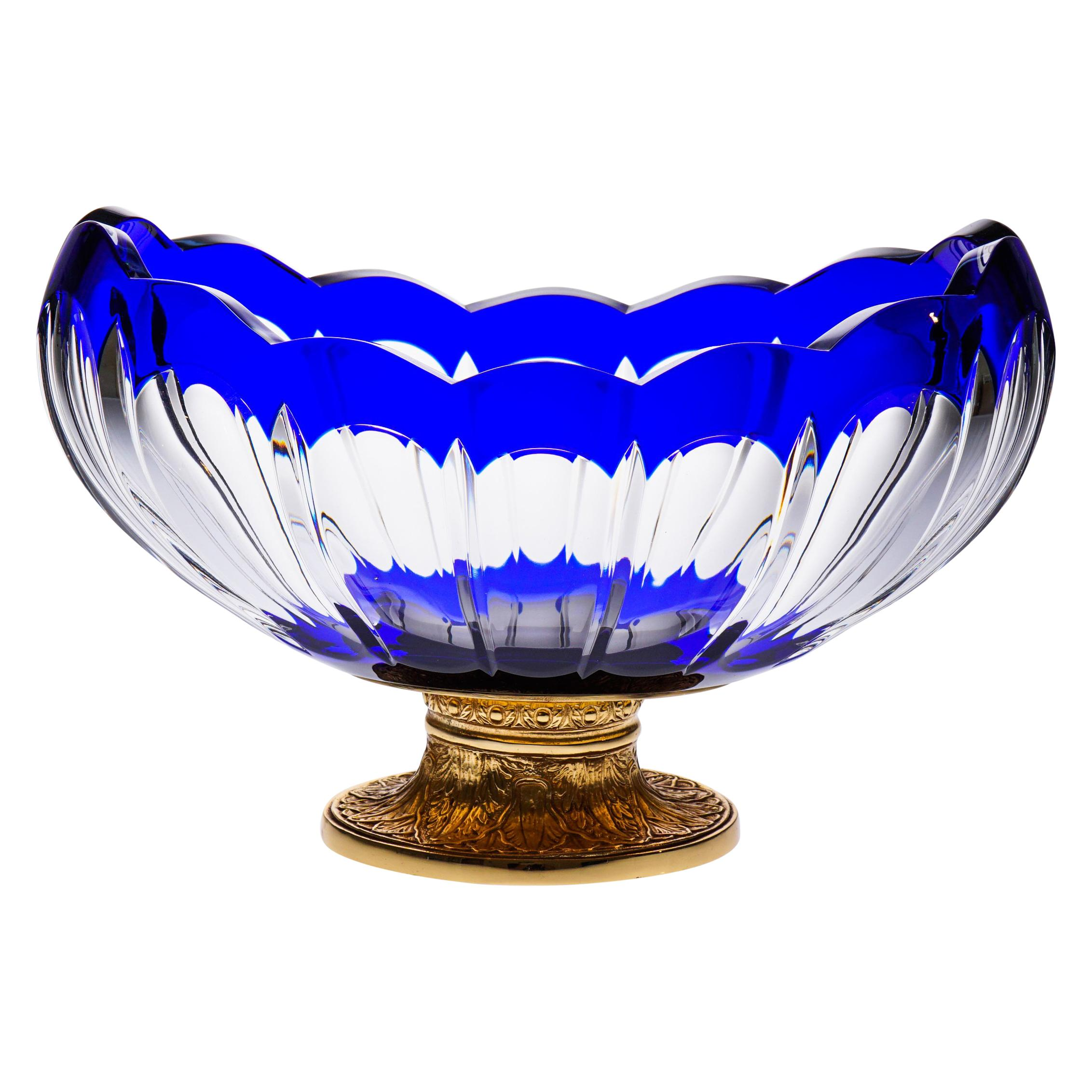 Blue Crystal Jardinière with Bronze Foot Covered 22-Carat Gold