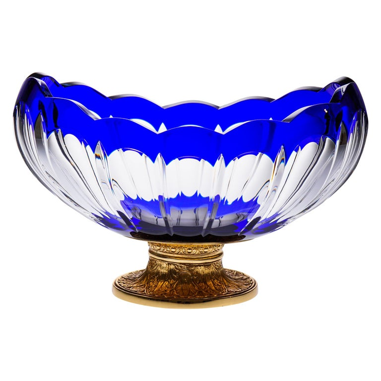 Blue Crystal Jardinière with Bronze Foot Covered 22-Carat Gold For Sale