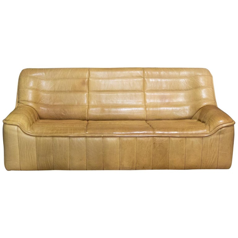 De Sede Sofa Model Ds84, Brown Leather, Switzerland, Swiss Made, 1970s For Sale