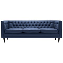 Contemporary Tux Lux Sofa with Brass, Oak, or Walnut Legs