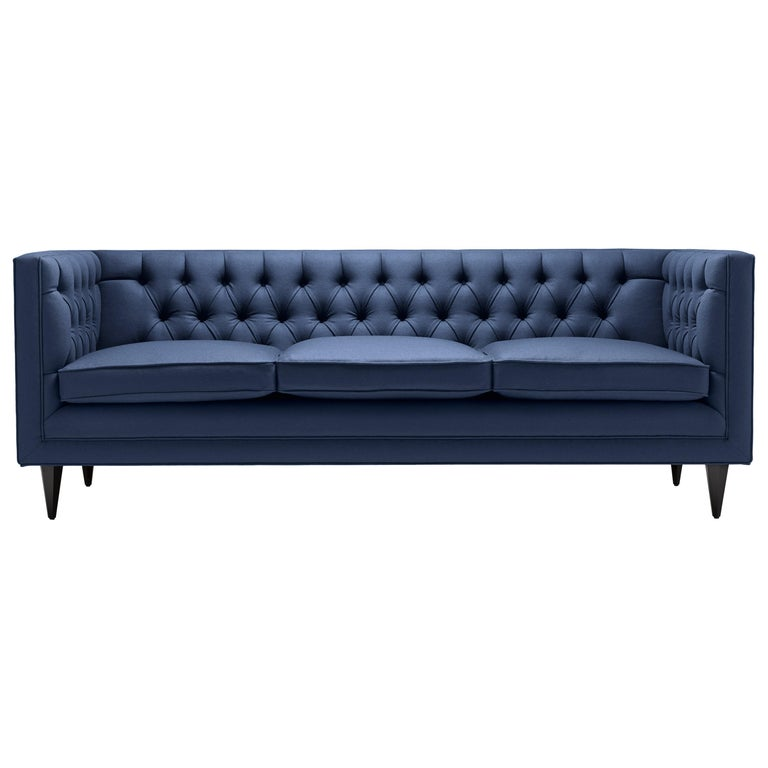Contemporary Tux Lux Sofa with Brass, Oak, or Walnut Legs For Sale