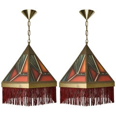 Pair of Amsterdamse School Art Deco Stained Glass Pedant Lights