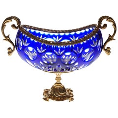Blue Crystal Jardinière with Bronze Foot and Top Covered 22-Carat Gold