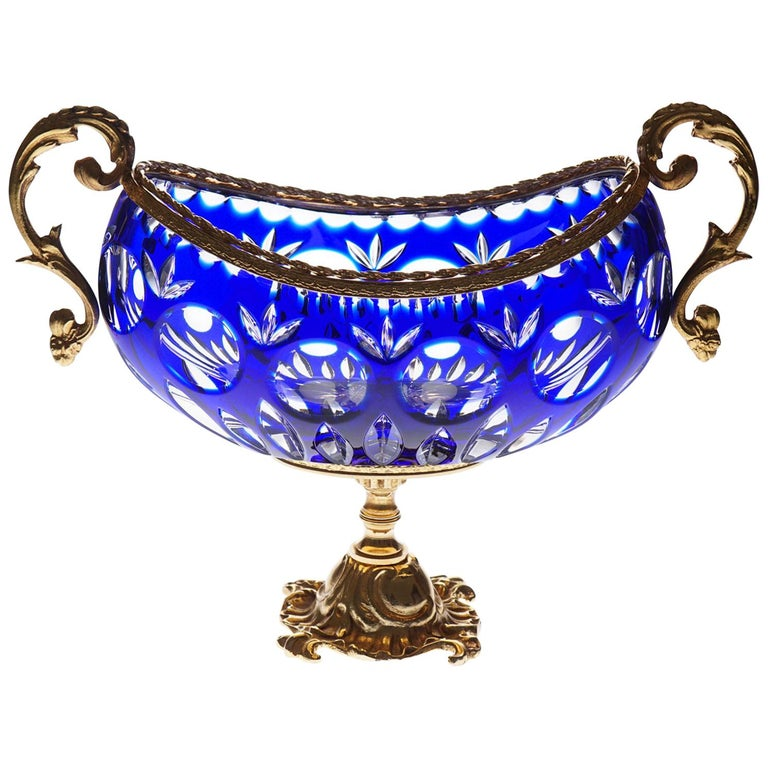 Blue Crystal Jardinière with Bronze Foot and Top Covered 22-Carat Gold For Sale