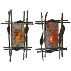 Pair of Brutalist Sconces Iron Murano Glass by Ahlstrom and Helrich, 1970s