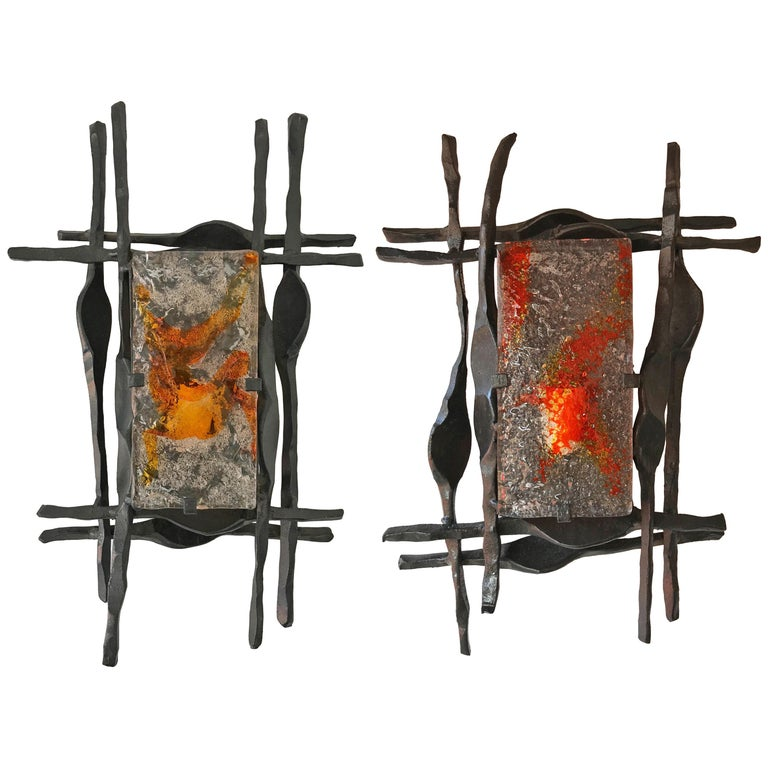 Pair of Brutalist Sconces Iron Murano Glass by Ahlstrom and Helrich, 1970s For Sale