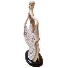 Goldscheider Austria Art Deco Sculpture Floral Dress Lady Susette Ceramic , 1937
