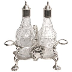 Samuel Wood George 11 Silver and Cut Glass Oil and Vinegar Cruet Stand, 1751