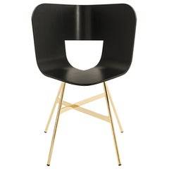 Tria Chair, Black Shell, Golden Legs, Minimalist Design Icon