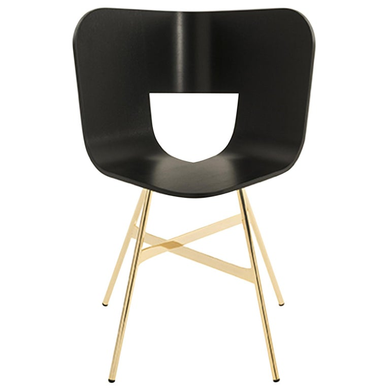 Tria Chair, Black Shell, Golden Legs, Minimalist Design Icon For Sale