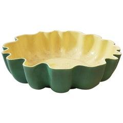 Richard Ginori Gariboldi Green Yellow Ceramic Circle Bowl, 1940s