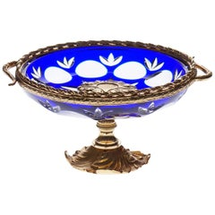 "Blue Crystal ""Vide-Poche"" with Bronze Covered 22-Carat Gold, Oriental Style"