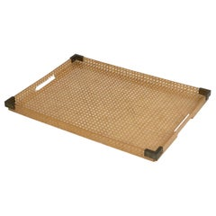 1970s Lucite, Brass and Rattan Serving Tray by Christian Dior Home Collection