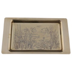 Solid Brass Tray with Engraved Decorations of Flowers Plants and Birds Italian