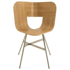 Tria Chair, Oak Wood Shell, Black Chrome Metal Legs, Minimalist Design Icon