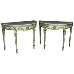 Pair of 18th Century Lacquered and Gilded Italian Consoles with White Marble Top