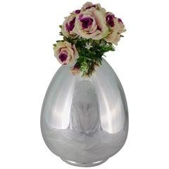 20th Century Art Deco Silver Egg Flower Vase Italy, 1930s