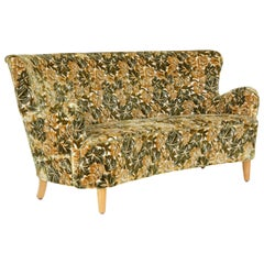Mid-20th Century Concave Floral Upholstered Sofa