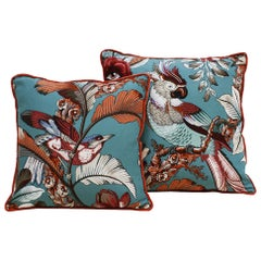 Contemporary Pair of Square Pattern Linen Scatter Cushions