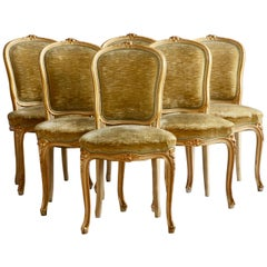 Set of 6 Matching Louis XV Style Chairs, with Gilded Highlights