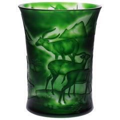 Dark Green Crystal Vase Design Nature Gazelle & Panther