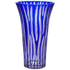 Contemporary Blue Crystal Vase Zebra Design Modern