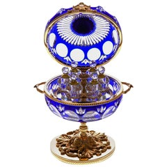 Blue Crystal Perfume Cave with 6 Perfume Bottles & Bronze Covered 22-Carat Gold