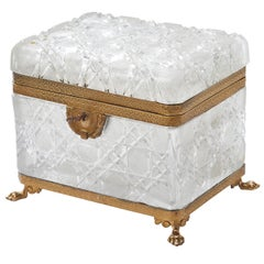 French Large Crystal Box with Gilt Bronze Mounts, Attributed to Baccarat