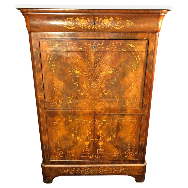 19th Century Charles X Mahogany France Secretaire Marble Top att.L.E. Lemarchand For Sale
