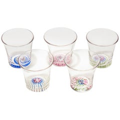 Set Antique English Millefiori Shot Glasses, 19th-20th Century